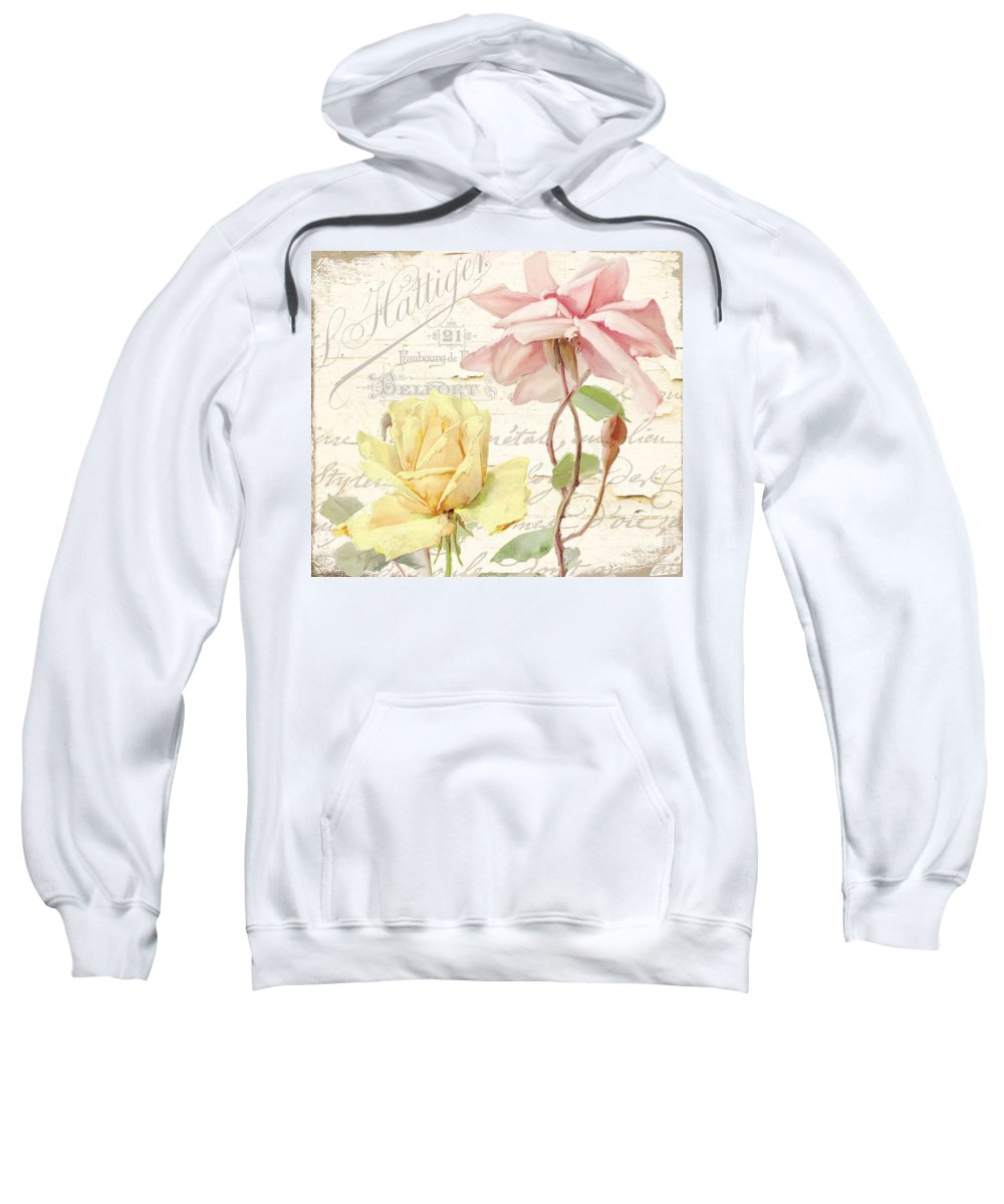 Shabby Roses Sweatshirt featuring the painting Florabella Iv by Mindy Sommers