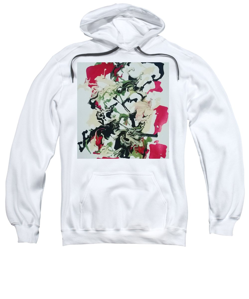 #floral #black #beige #red #green #metallic Y Sweatshirt featuring the painting Floral #05 by Michelle Bossier