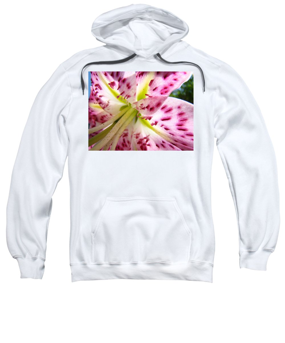 Lilies Sweatshirt featuring the photograph Floral Lily Flower Artwork Pink Calla Lilies Baslee Troutman by Baslee Troutman