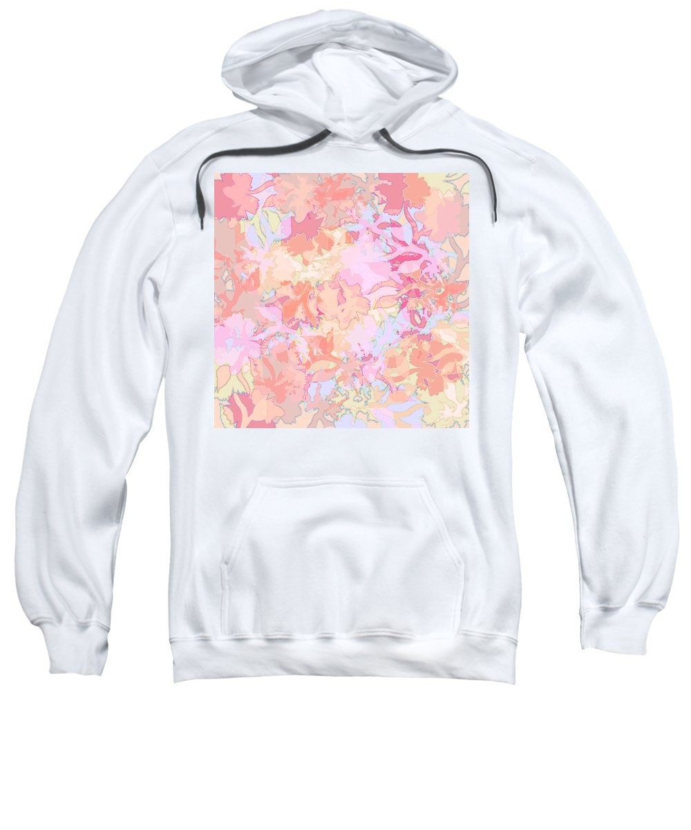 Abstract Sweatshirt featuring the digital art Floral Menagerie by Rachel Christine Nowicki