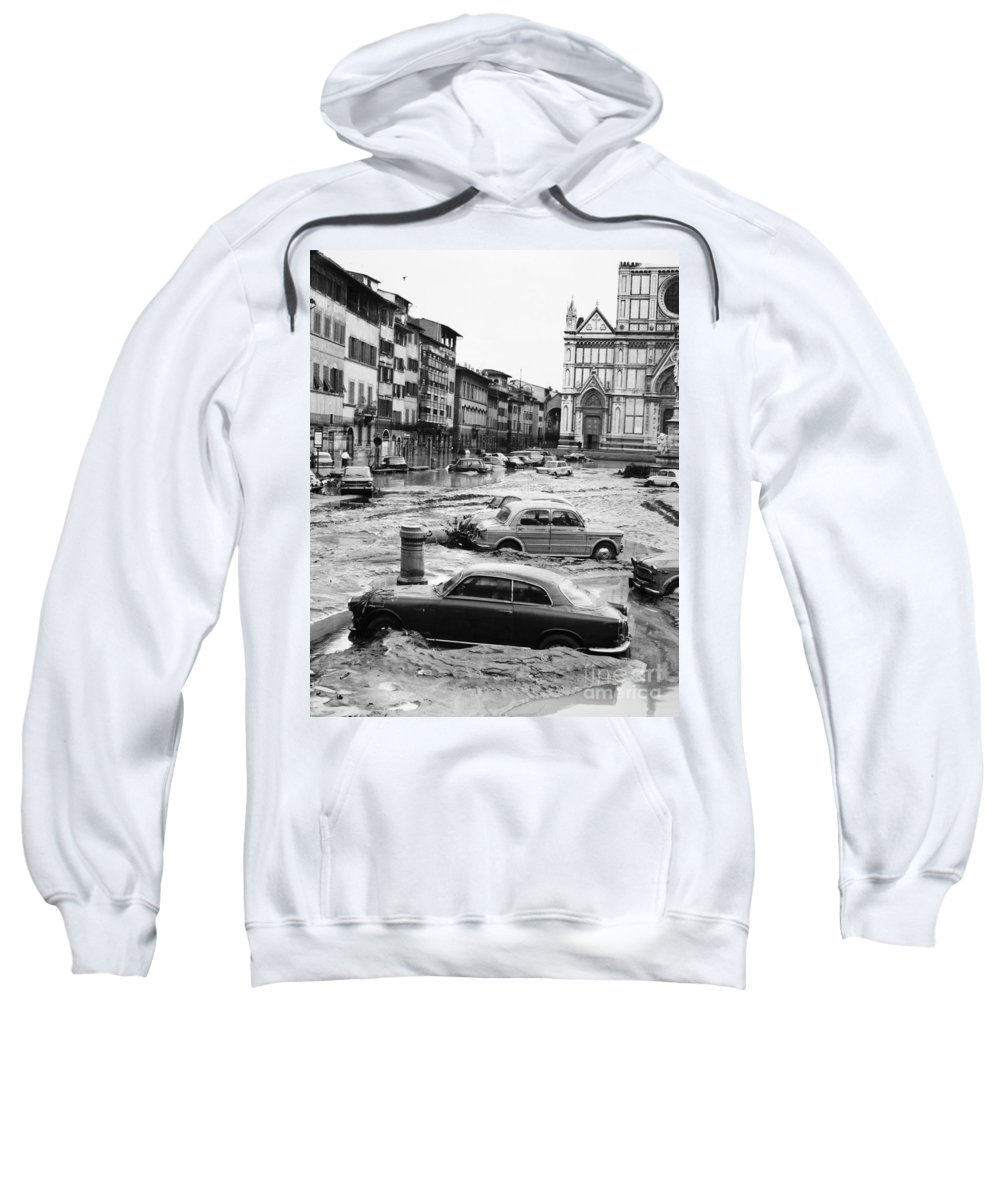 1966 Sweatshirt featuring the photograph Florence: Flood, 1966 by Granger