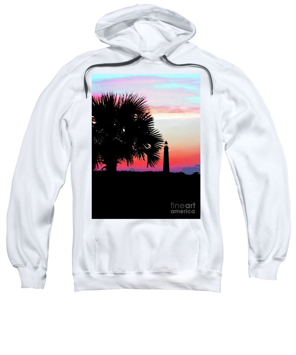 Lighthouse Sweatshirt featuring the photograph Florida Lighthouse Sunset Silhouette by Ron Tackett