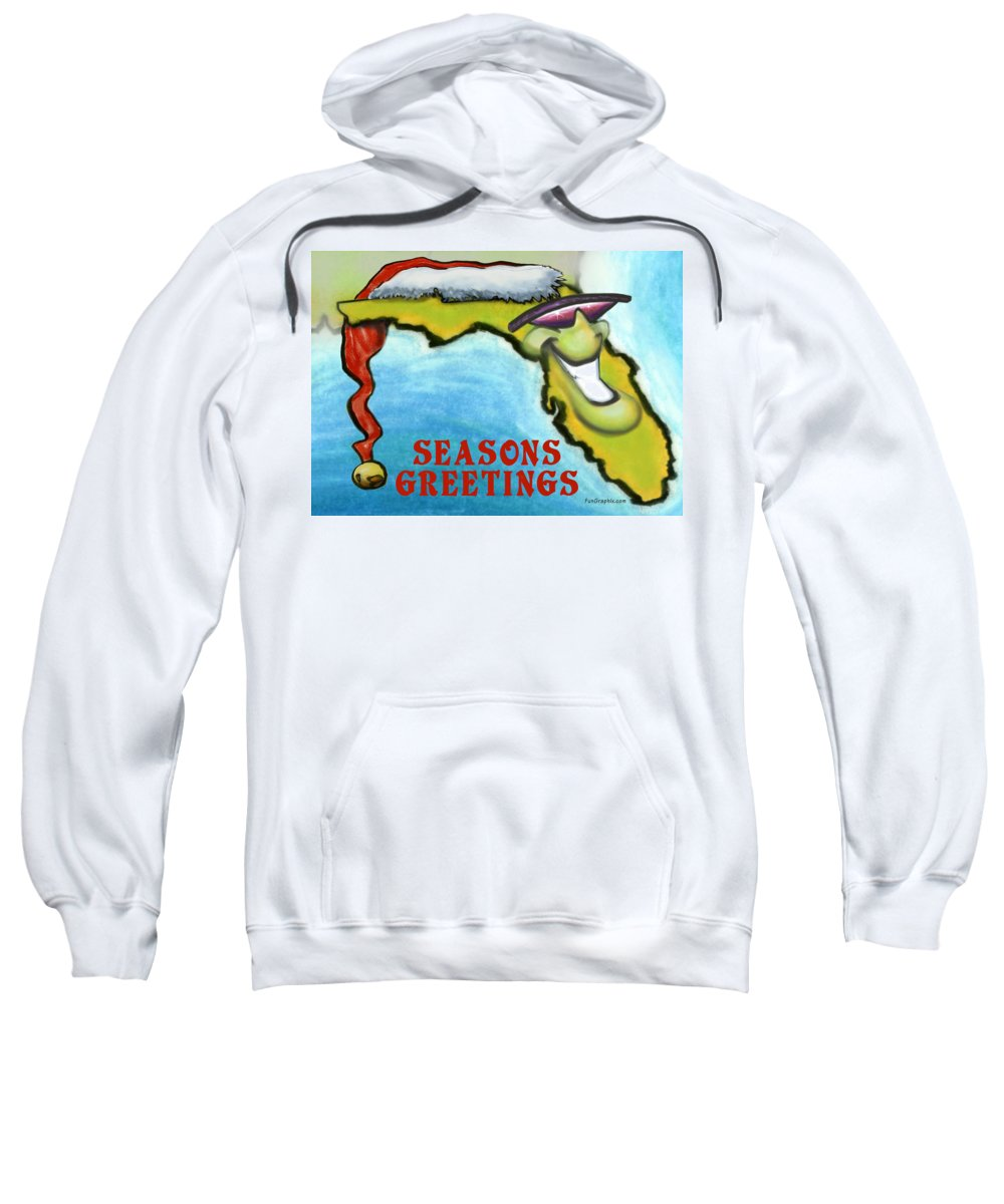 Florida Sweatshirt featuring the greeting card Florida Seasons Greetings by Kevin Middleton