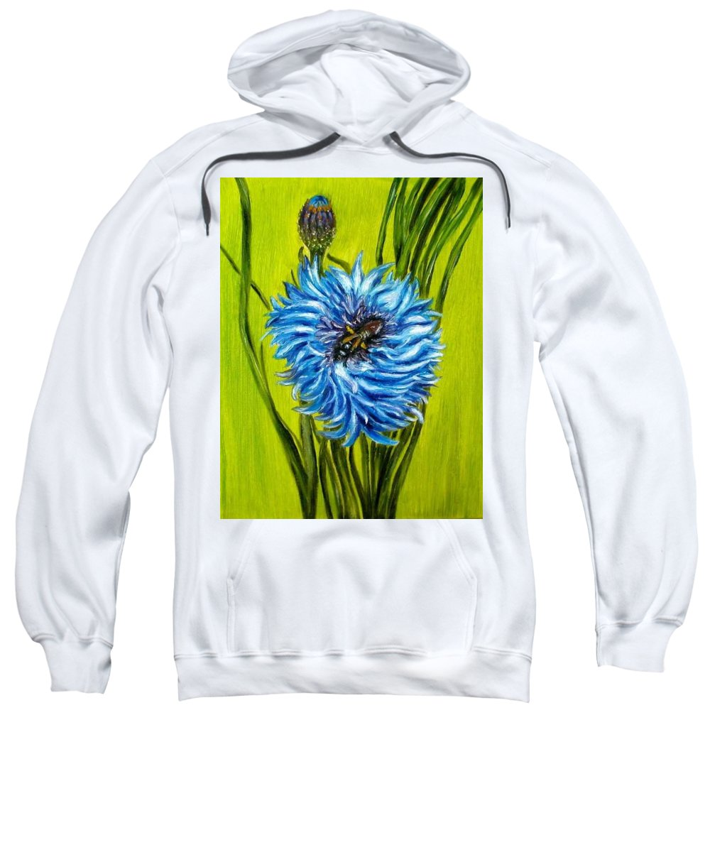 Flower Sweatshirt featuring the painting Flower and Bee oil painting by Natalja Picugina
