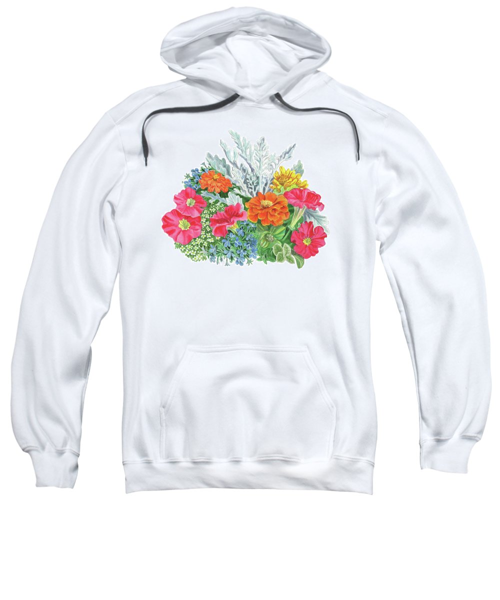 Flowers Sweatshirt featuring the painting Flower Arrangement With Petunia Marigold And Sweet Allysum by Irina Sztukowski