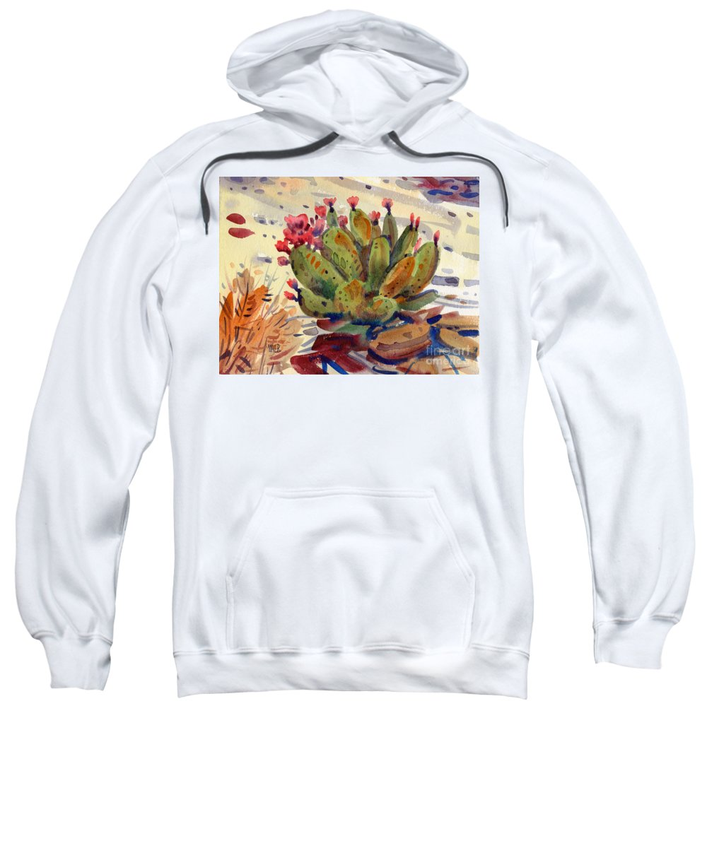 Opuntia Cactus Sweatshirt featuring the painting Flowering Opuntia by Donald Maier