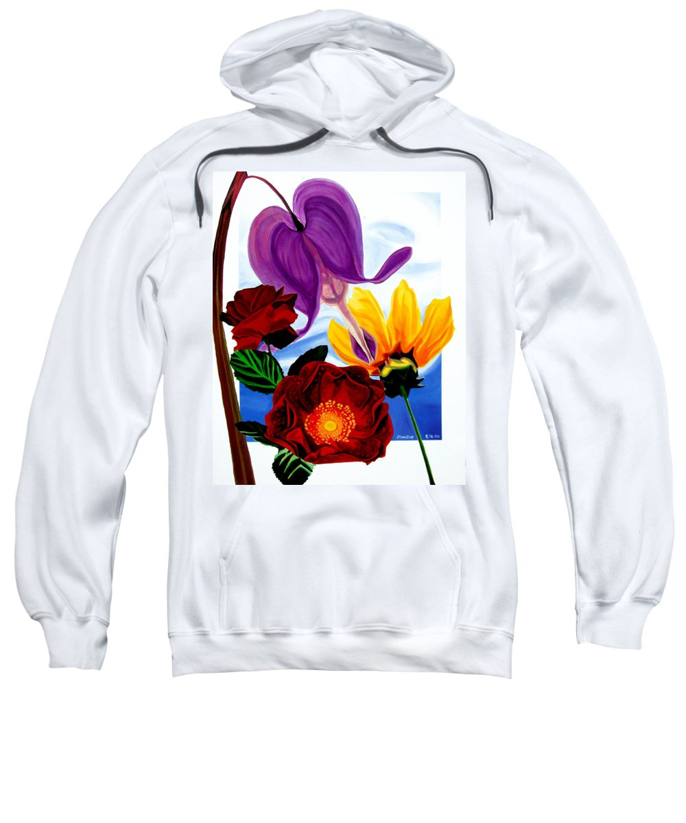 Floral Sweatshirt featuring the painting Flowers by Che Hondo