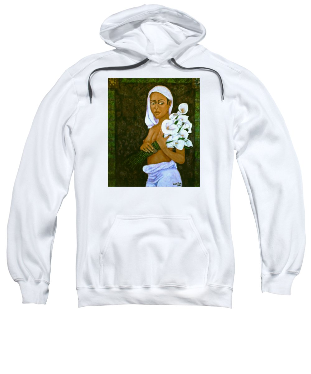 Love Sweatshirt featuring the painting Flowers For An Old Love by Madalena Lobao-Tello