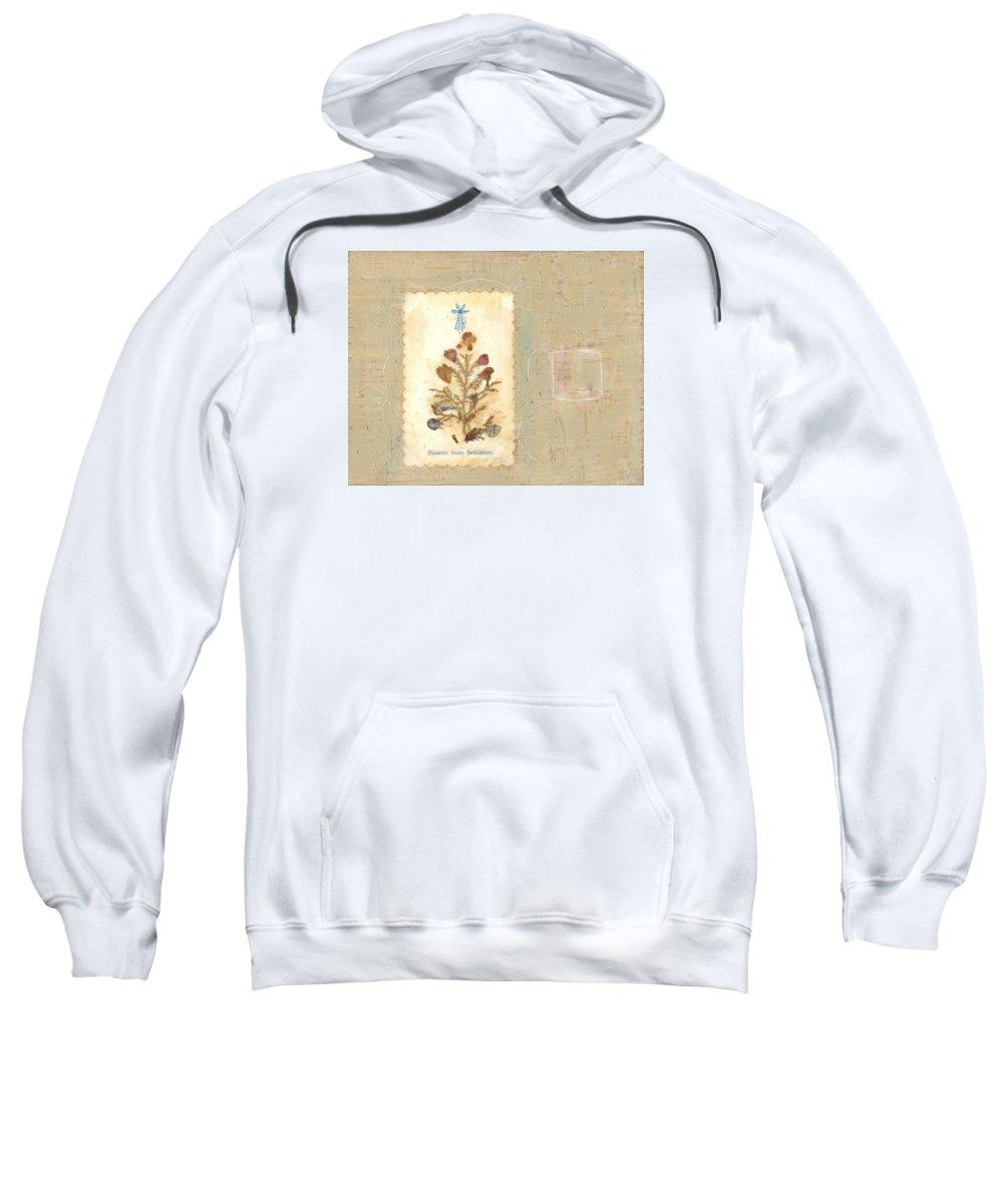 Encaustic Sweatshirt featuring the mixed media Flowers From Bethlehem by Alice Kelsey