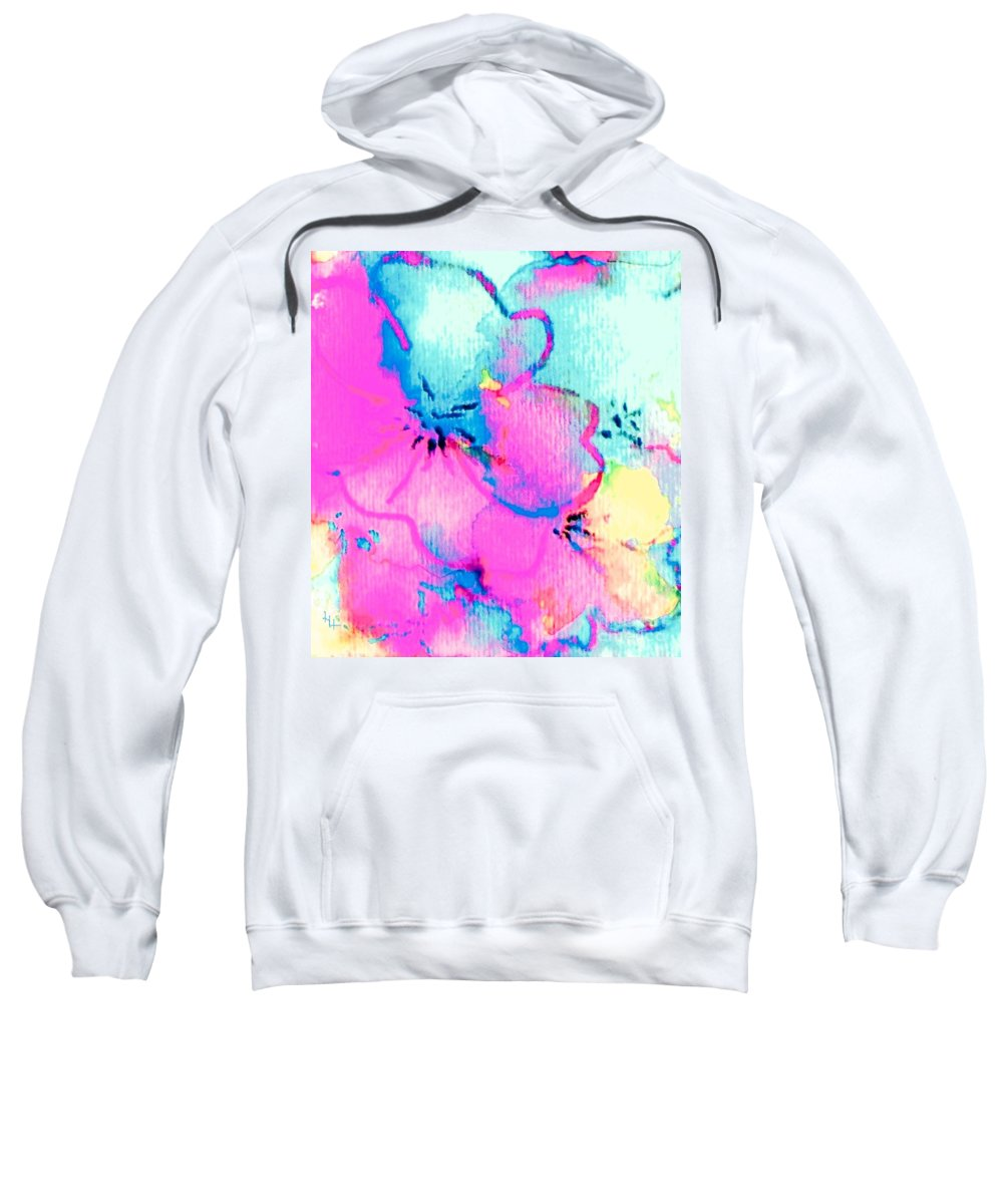 Fantasy Flowers Sweatshirt featuring the painting Fantasy Flowers by Hazel Holland