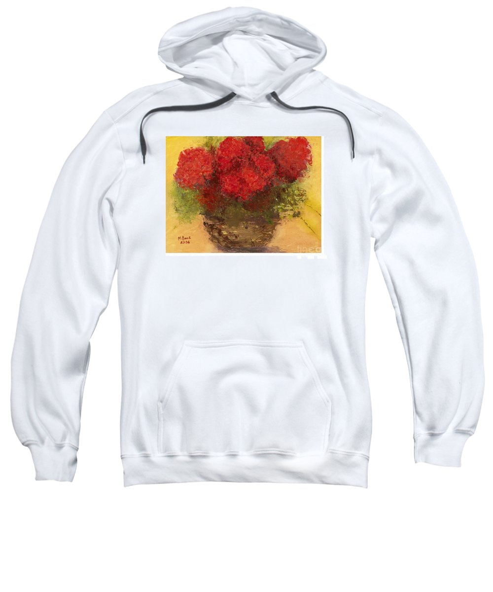Still Life Sweatshirt featuring the mixed media Flowers Red by Marlene Book