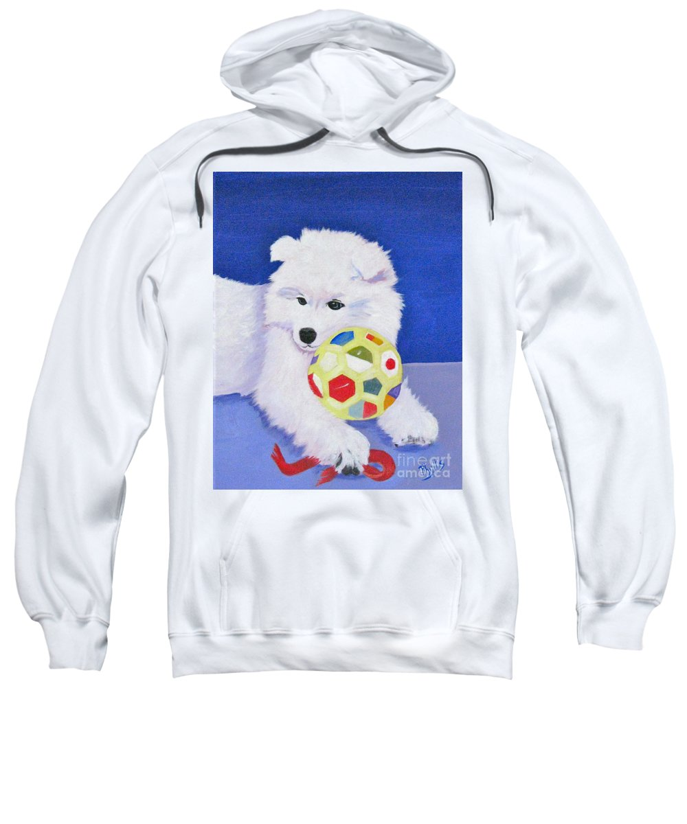 Samoyed Sweatshirt featuring the painting Fluffy's Portrait by Phyllis Kaltenbach