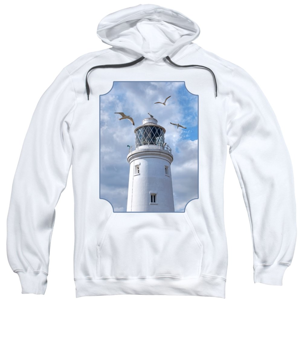 Lighthouse Sweatshirt featuring the photograph Fly Past - Seagulls Round Southwold Lighthouse by Gill Billington