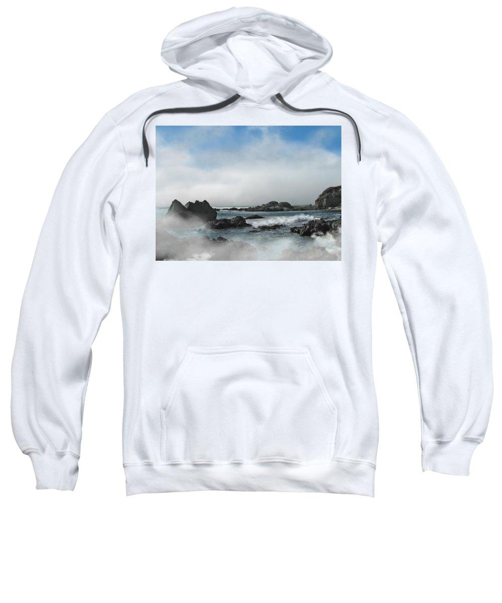Ocean Sweatshirt featuring the photograph Fog Lift by Karen W Meyer