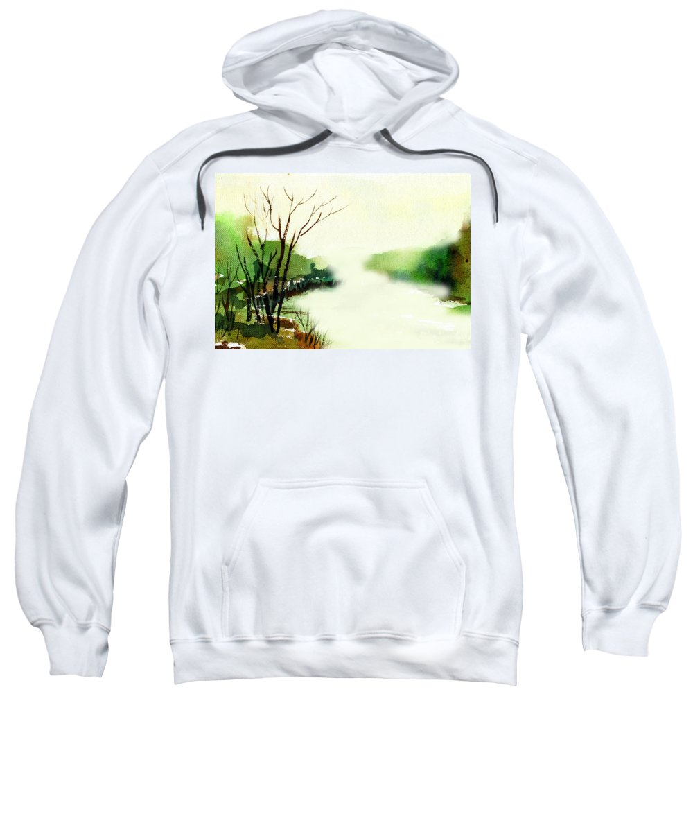Water Color Sweatshirt featuring the painting Fog1 by Anil Nene