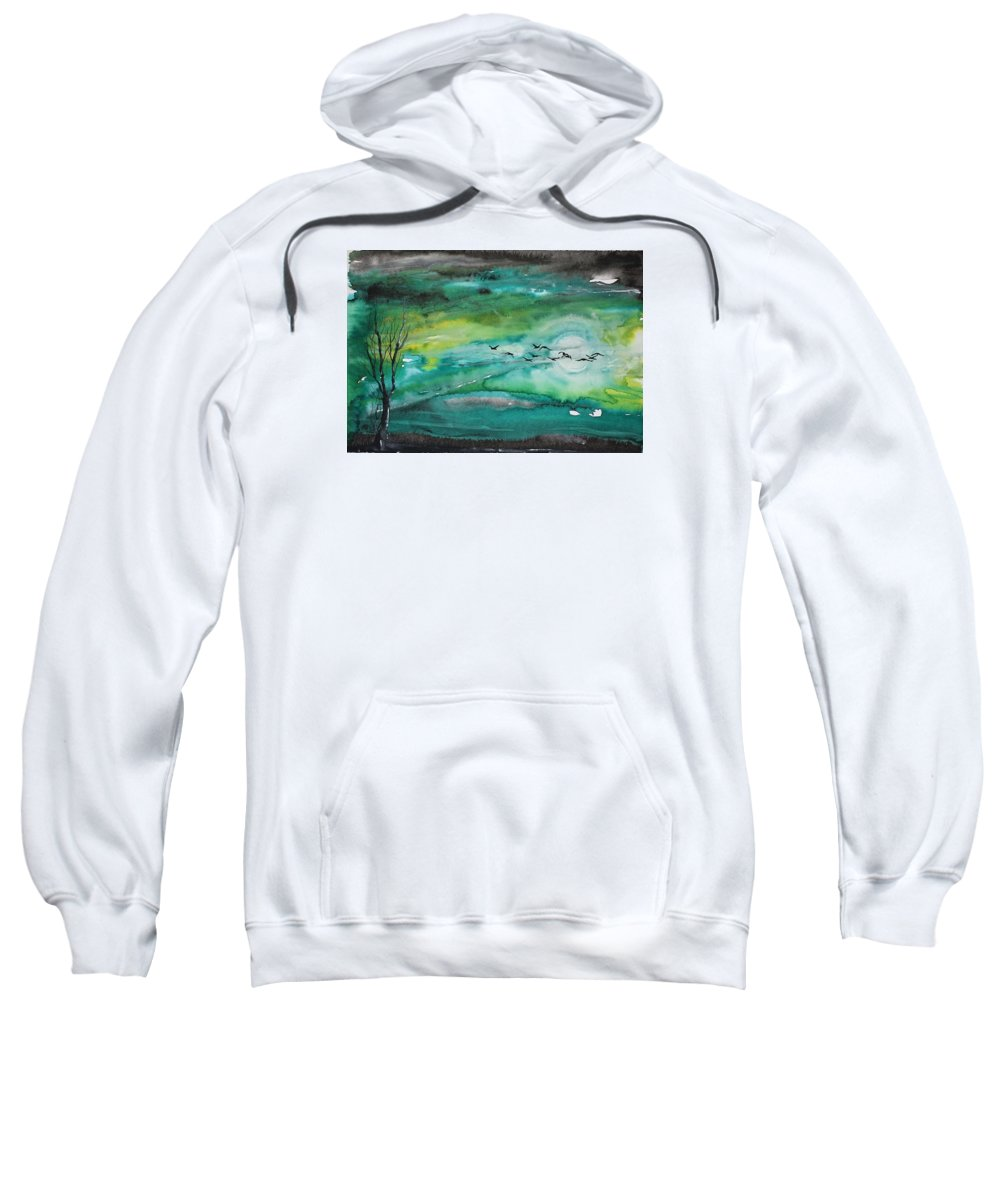 Night Sweatshirt featuring the painting Following The Moon by Kristijan Kis