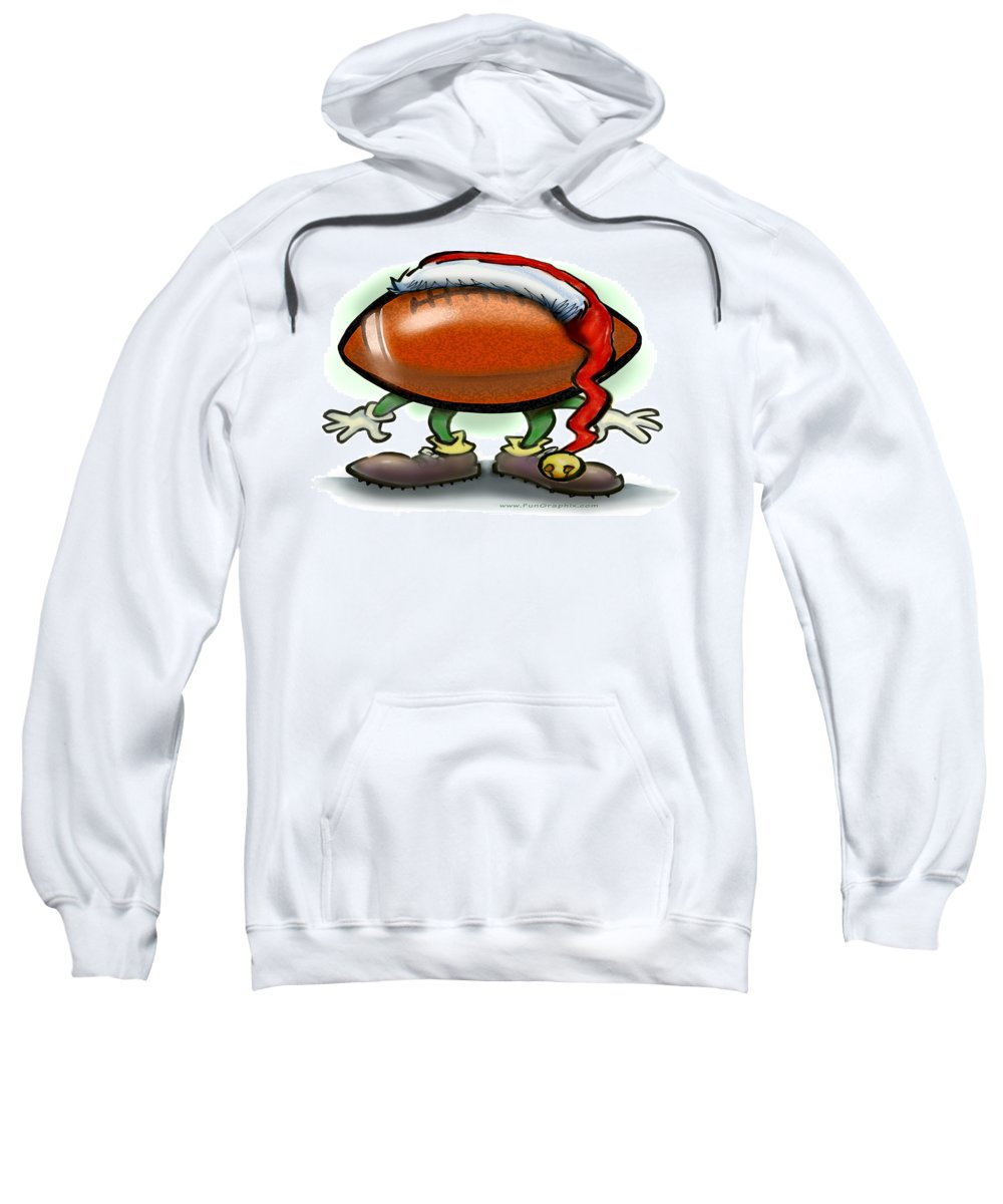 Football Sweatshirt featuring the greeting card Football Christmas by Kevin Middleton