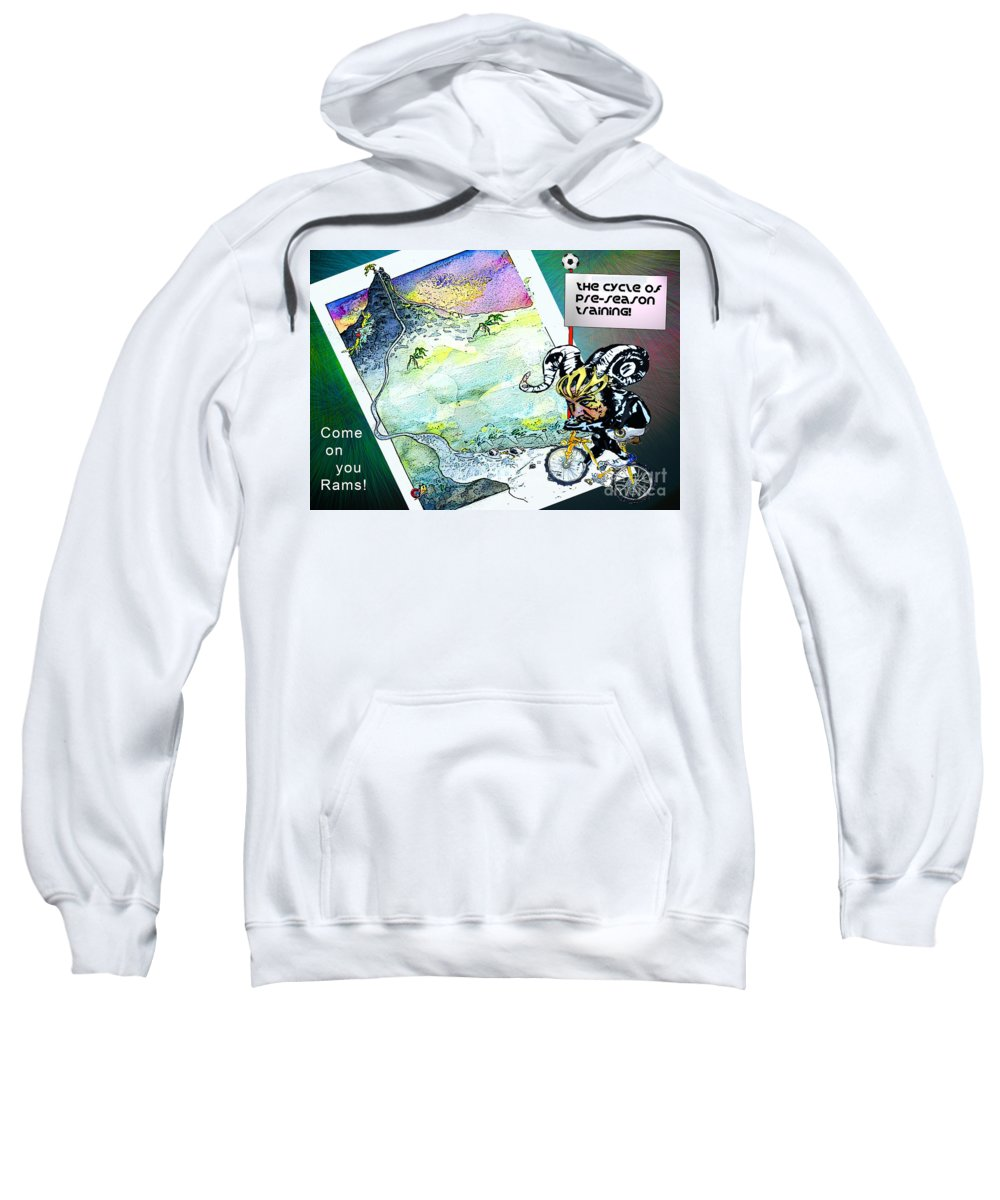 Football Calendar 2009 Derby County Football Club Miartwork Miki Sweatshirt featuring the painting Football Derby Rams On Holidays In The Mountains by Miki De Goodaboom