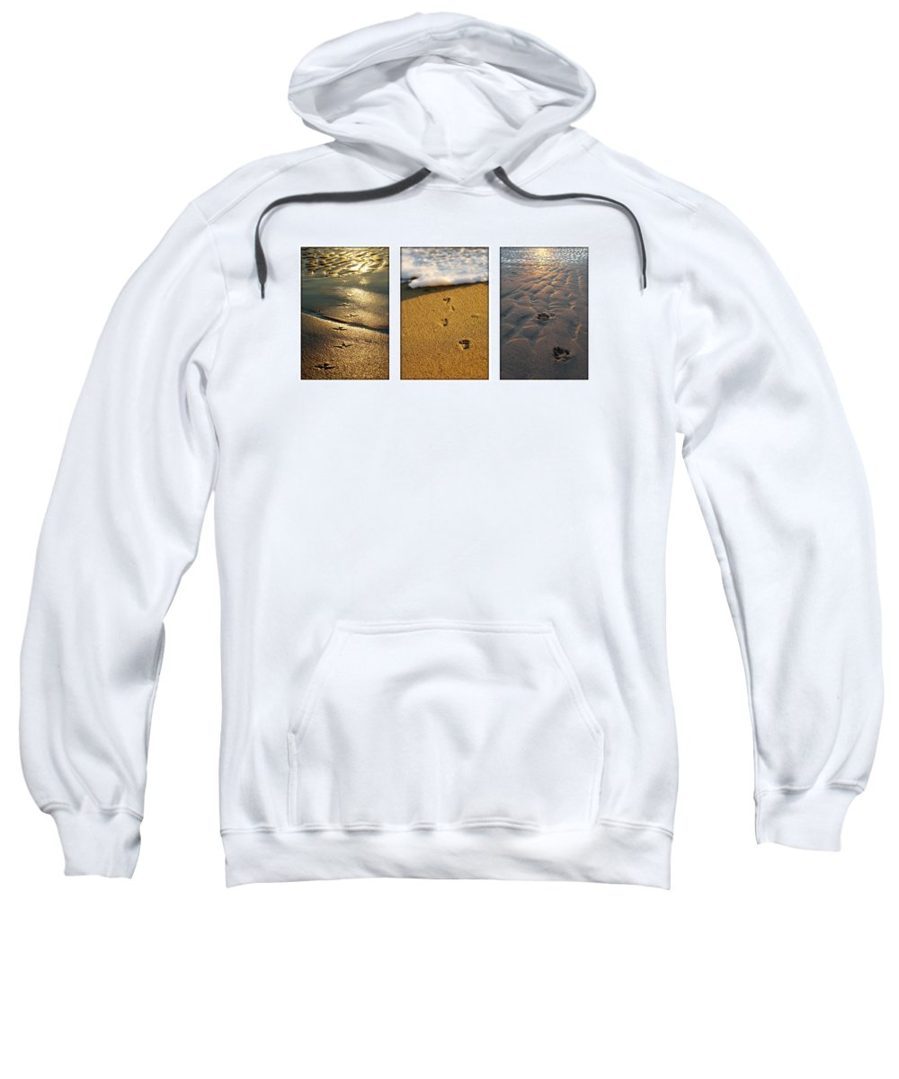 Beach Sweatshirt featuring the photograph Footprints In The Sand by Jill Reger