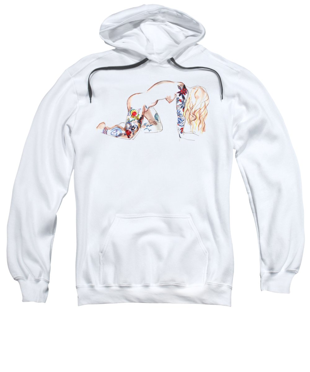 Erotic Art Sweatshirt featuring the mixed media Forever Amber - Tattoed Nude by Carolyn Weltman