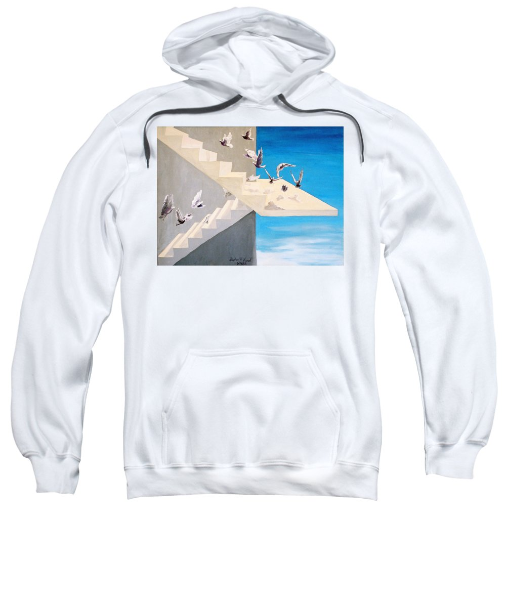 Birds Sweatshirt featuring the painting Form Without Function by Steve Karol