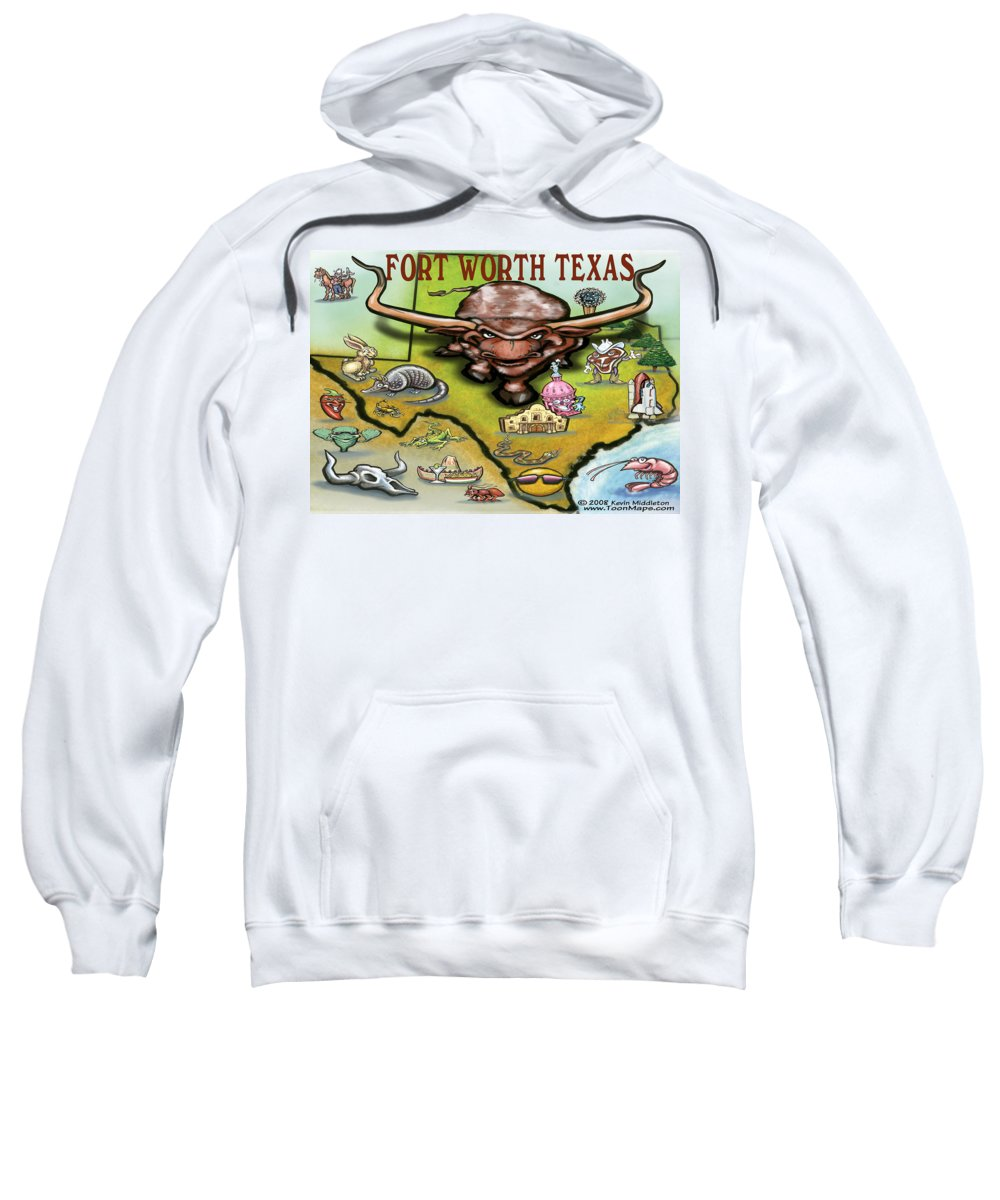 Fort Worth Sweatshirt featuring the greeting card Fort Worth Texas Cartoon Map by Kevin Middleton