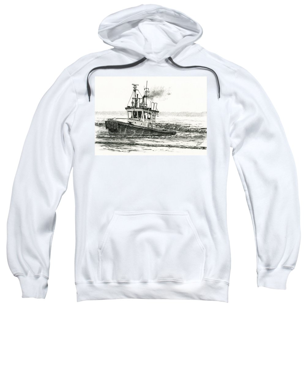 Tugs Sweatshirt featuring the drawing Foss Tugboat Sea Duke by James Williamson