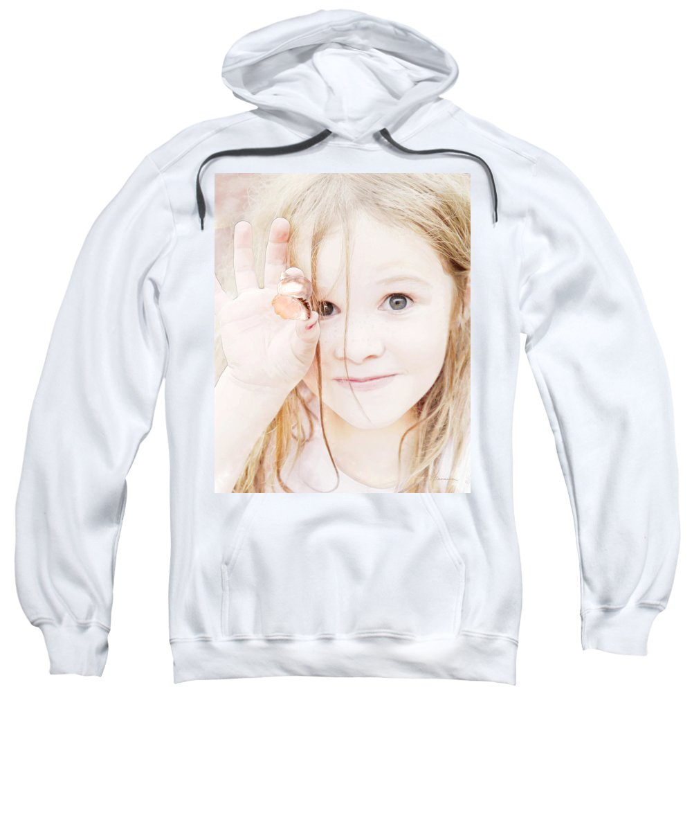 Girl Sweatshirt featuring the photograph Found A Seashell by Francesa Miller