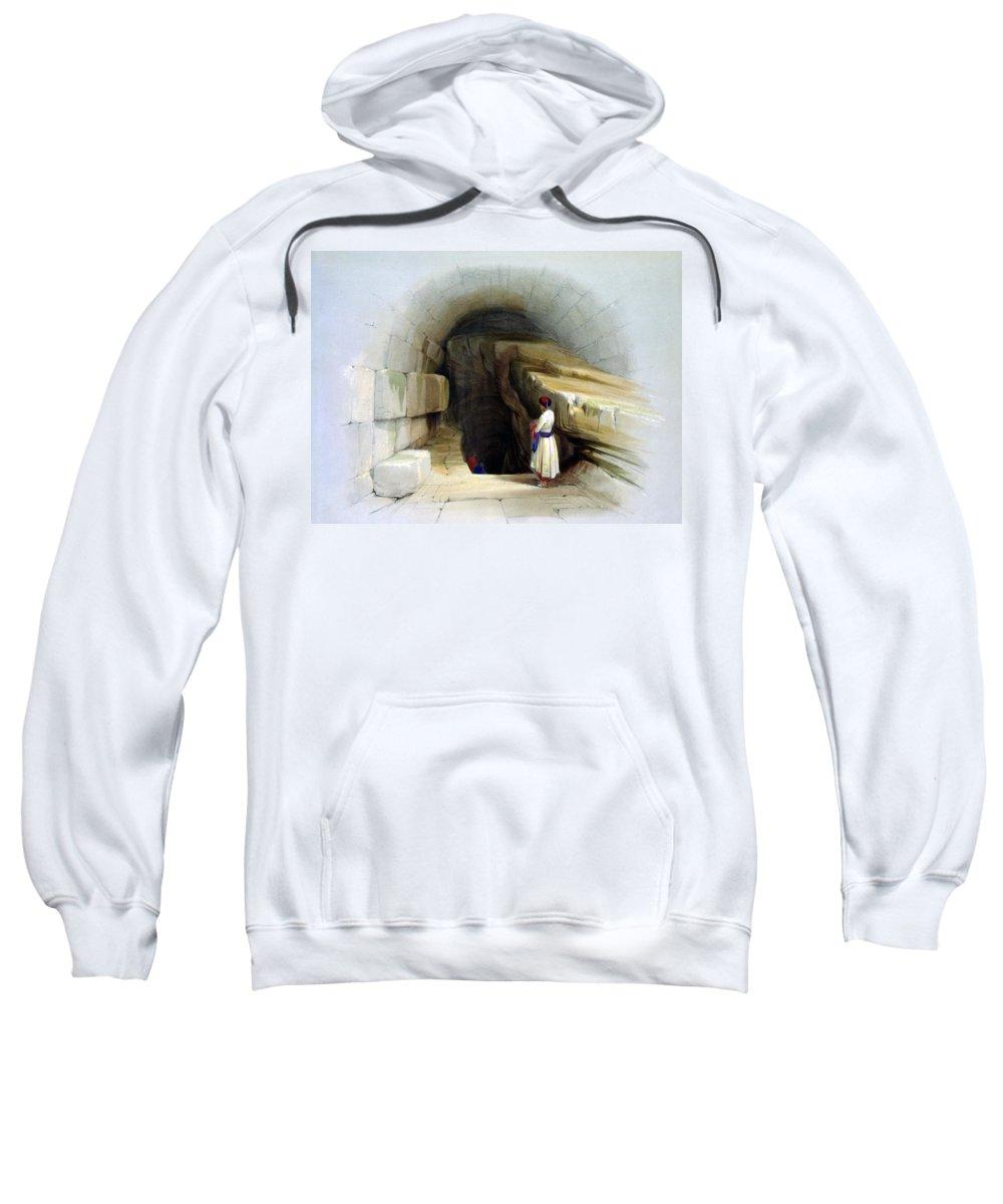 Siloam Sweatshirt featuring the digital art Fountain Of Siloam Valley Of Jehosophat 1842 by Munir Alawi
