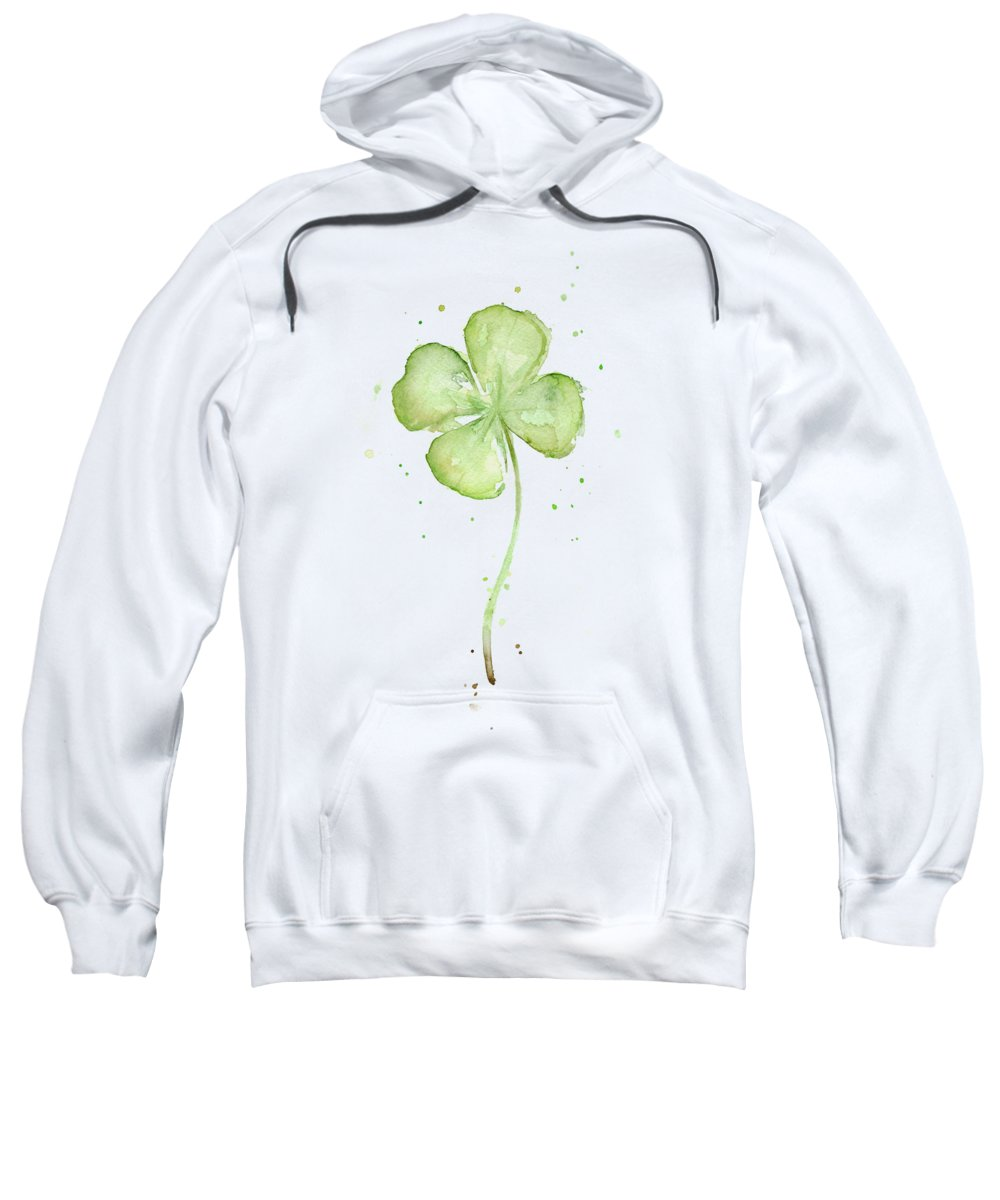 St Patricks Sweatshirt featuring the painting Four Leaf Clover Lucky Charm by Olga Shvartsur