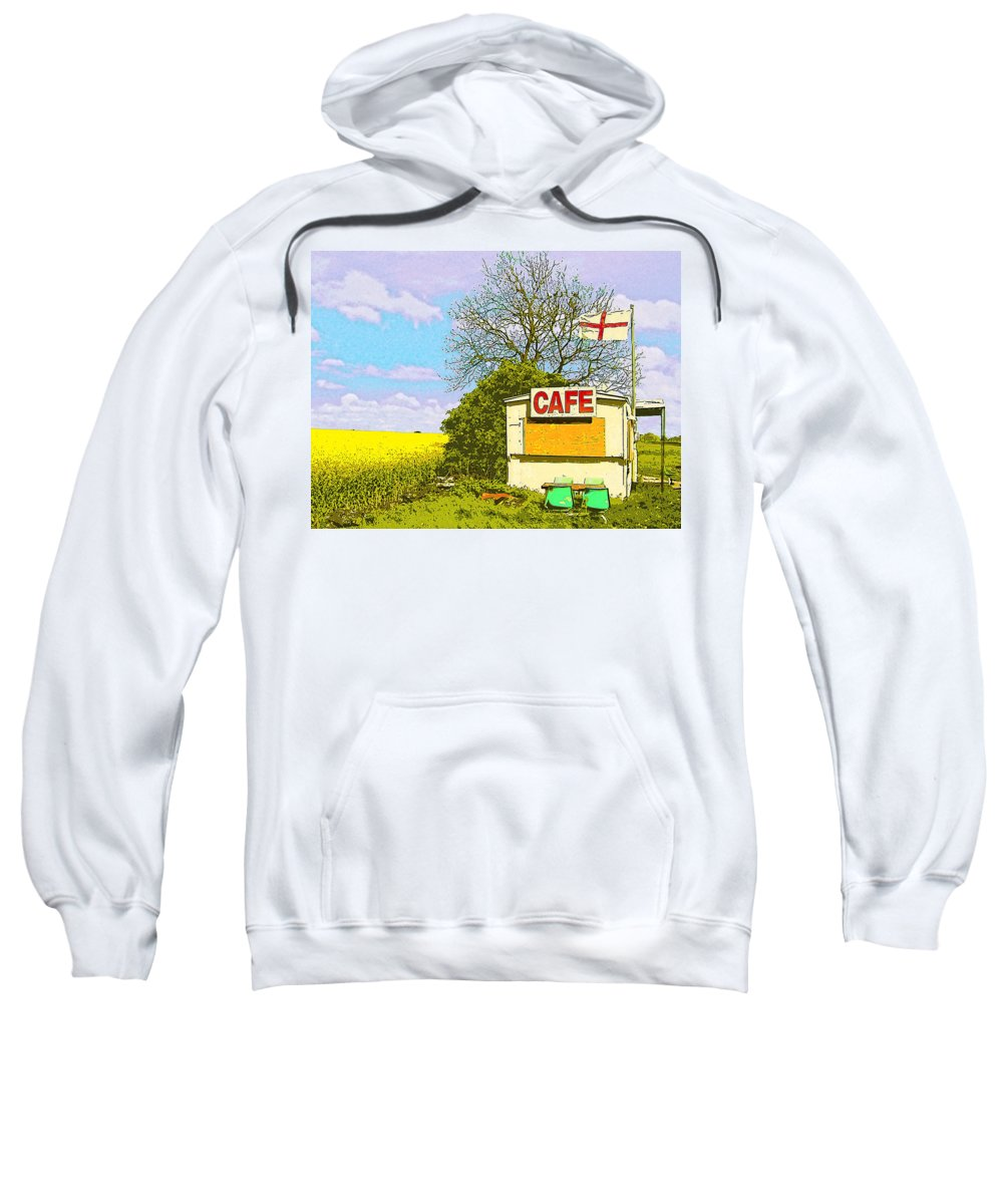 Four On The Patio Sweatshirt featuring the mixed media Four On The Patio by Dominic Piperata
