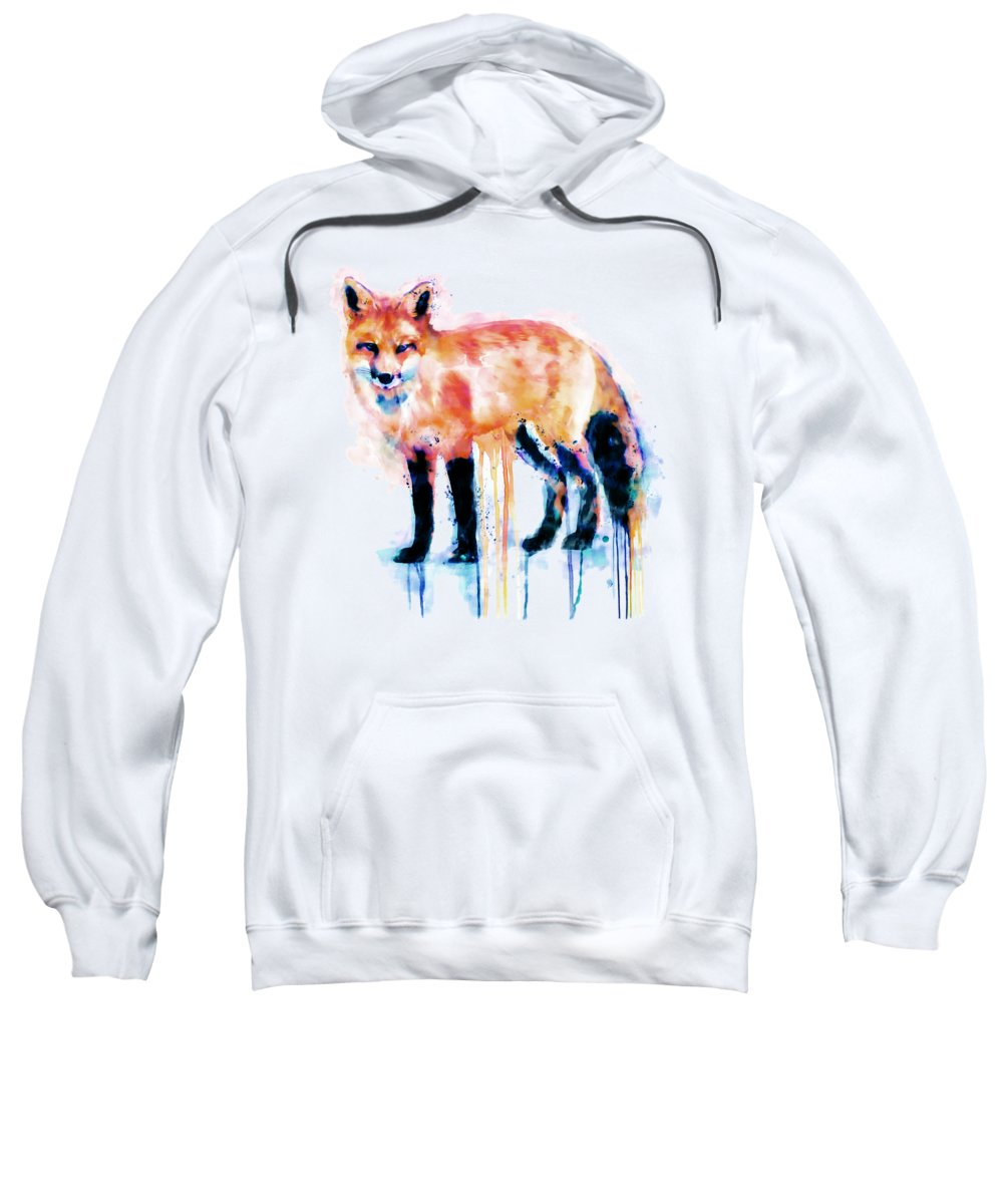 Fox Sweatshirt featuring the painting Fox by Marian Voicu