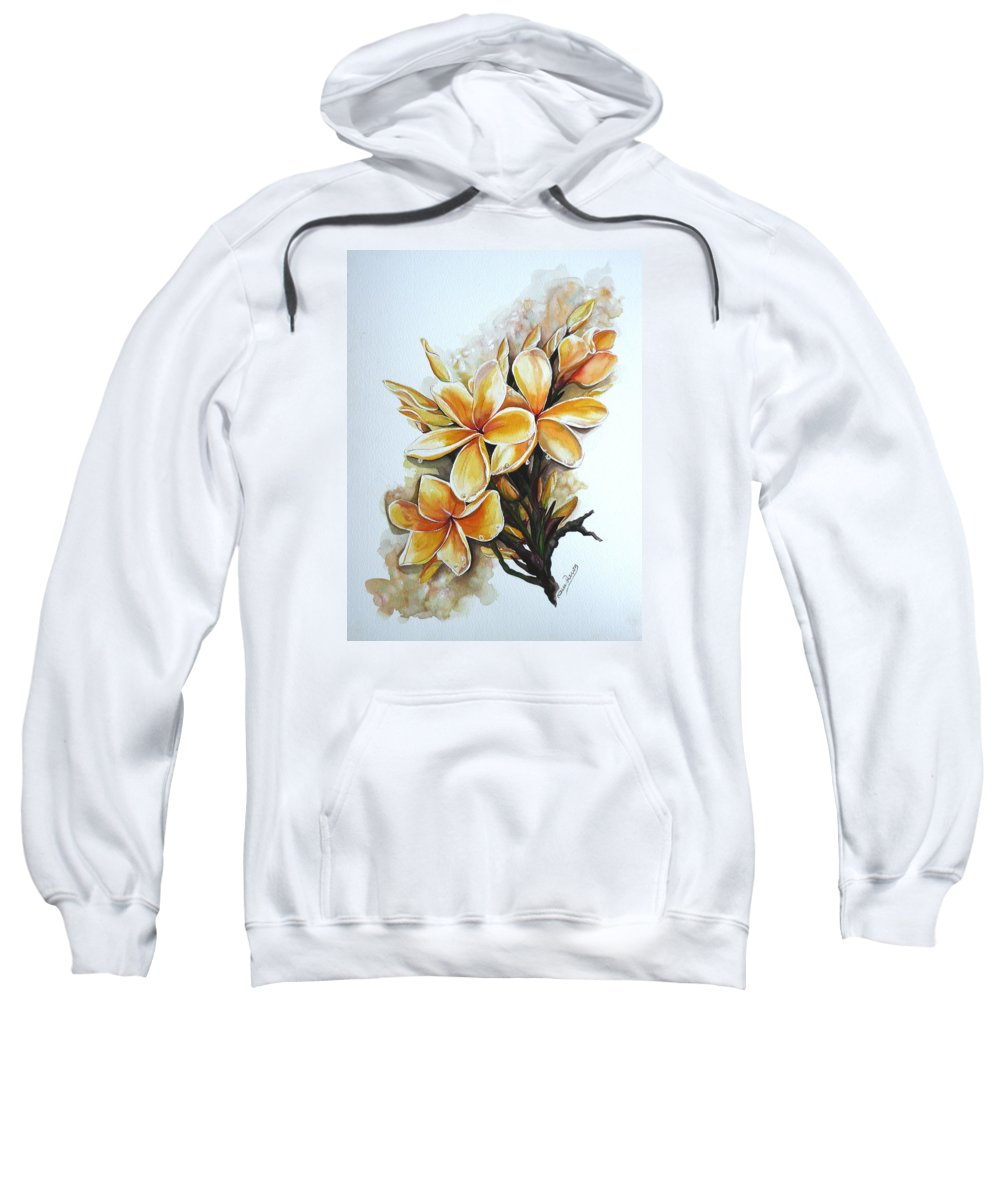 Caribbean Paintings Flower Paintings Floral Paintings  Sweatshirt featuring the painting Frangipangi  Sold by Karin Dawn Kelshall- Best