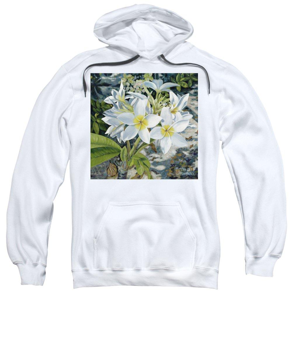 Frangipani Sweatshirt featuring the painting Frangipani by Danielle Perry