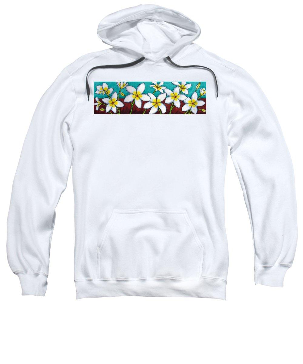 Frangipani Sweatshirt featuring the painting Frangipani Delight by Lisa Lorenz