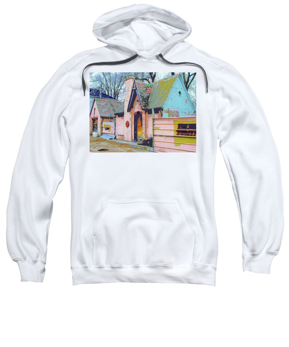Old House Sweatshirt featuring the mixed media Frank Lloyd Wrong by Dominic Piperata
