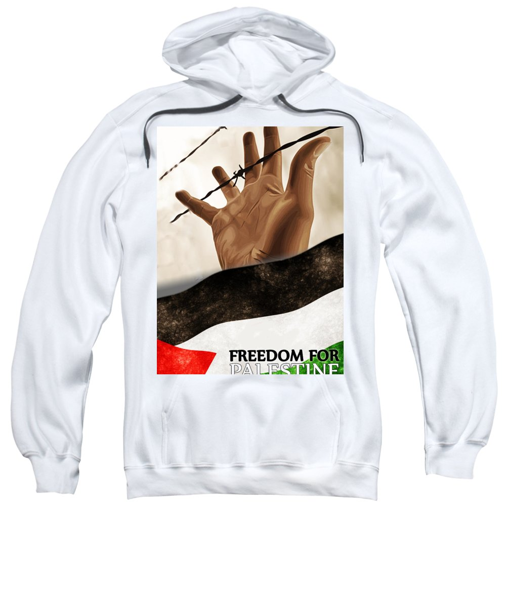 Palestine Sweatshirt featuring the painting Free Palestine by Ricardo Calvente