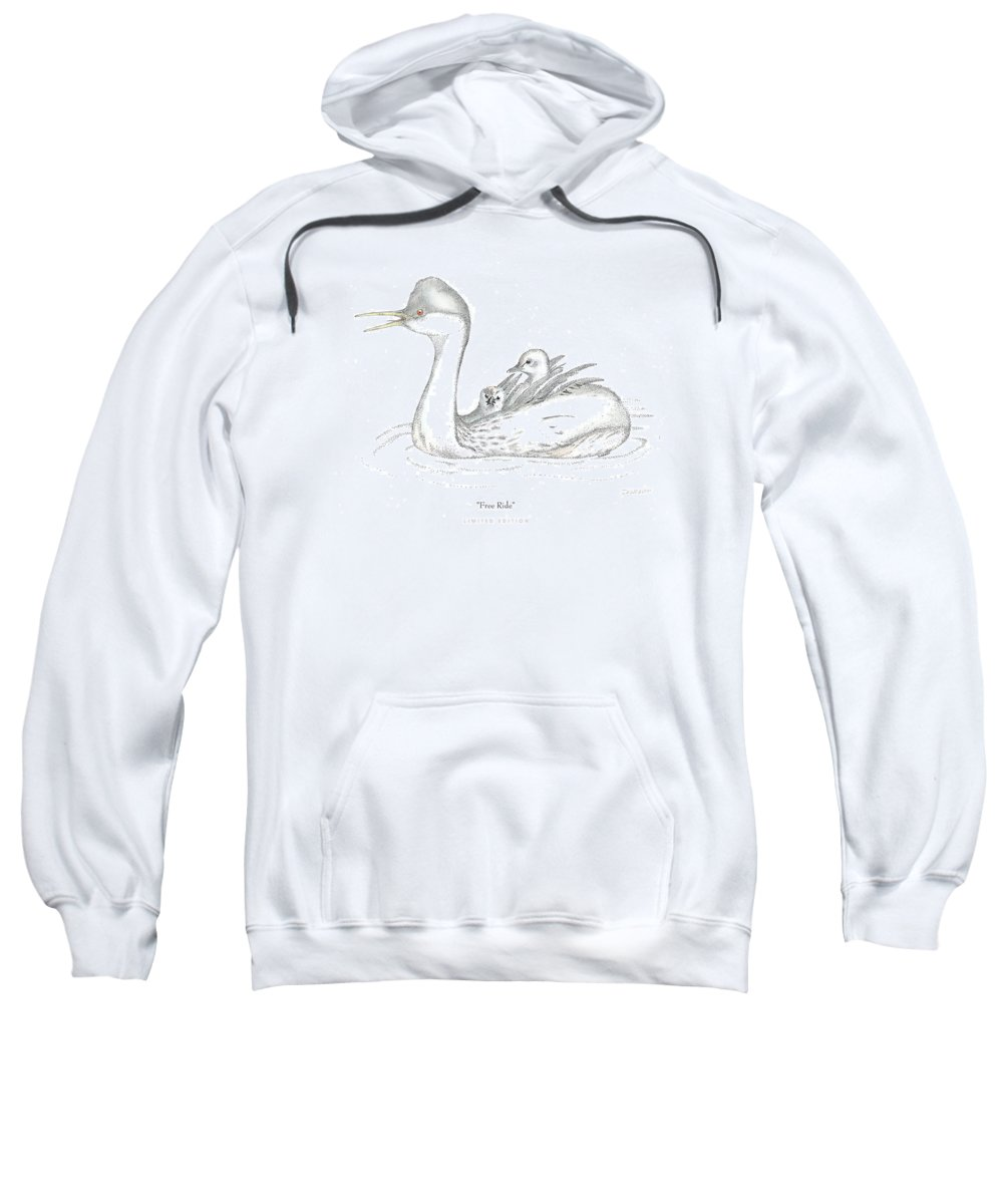 Grebe Sweatshirt featuring the drawing Free Ride by David Weaver