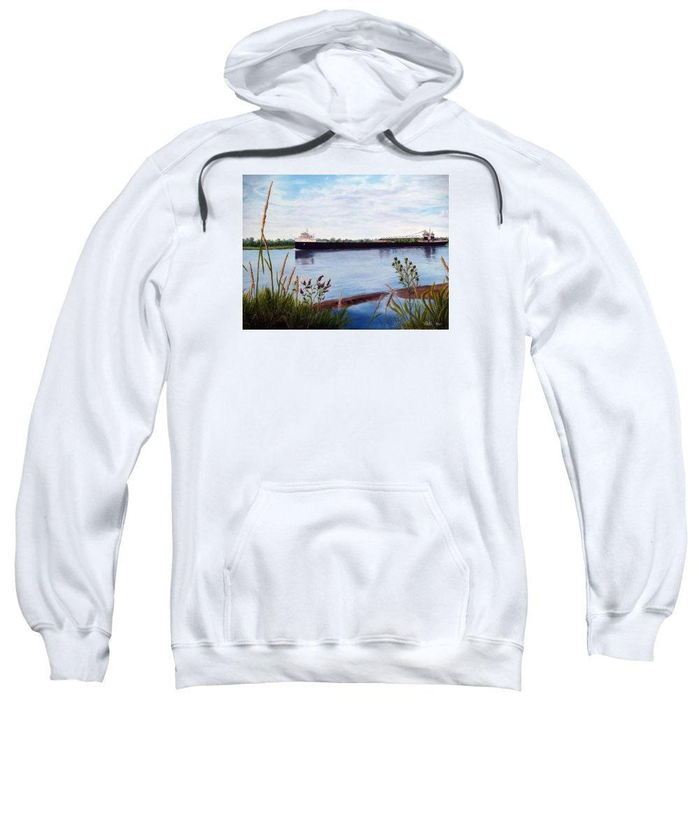 Freighter Sweatshirt featuring the painting Freighter by Vicky Path