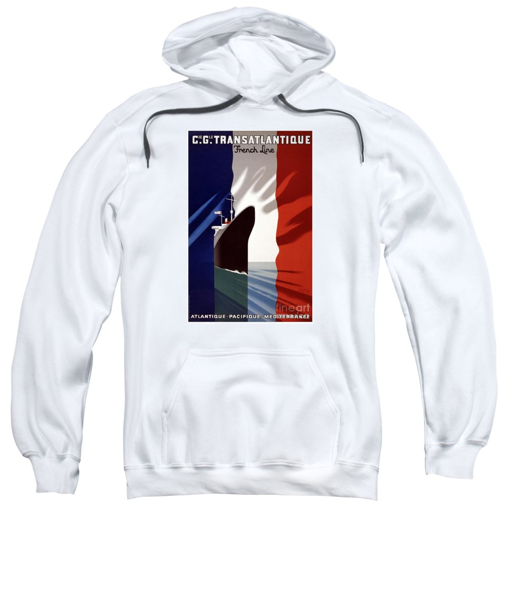 French Shipping Line Poster Sweatshirt featuring the painting French Shipping Line Poster by Pd