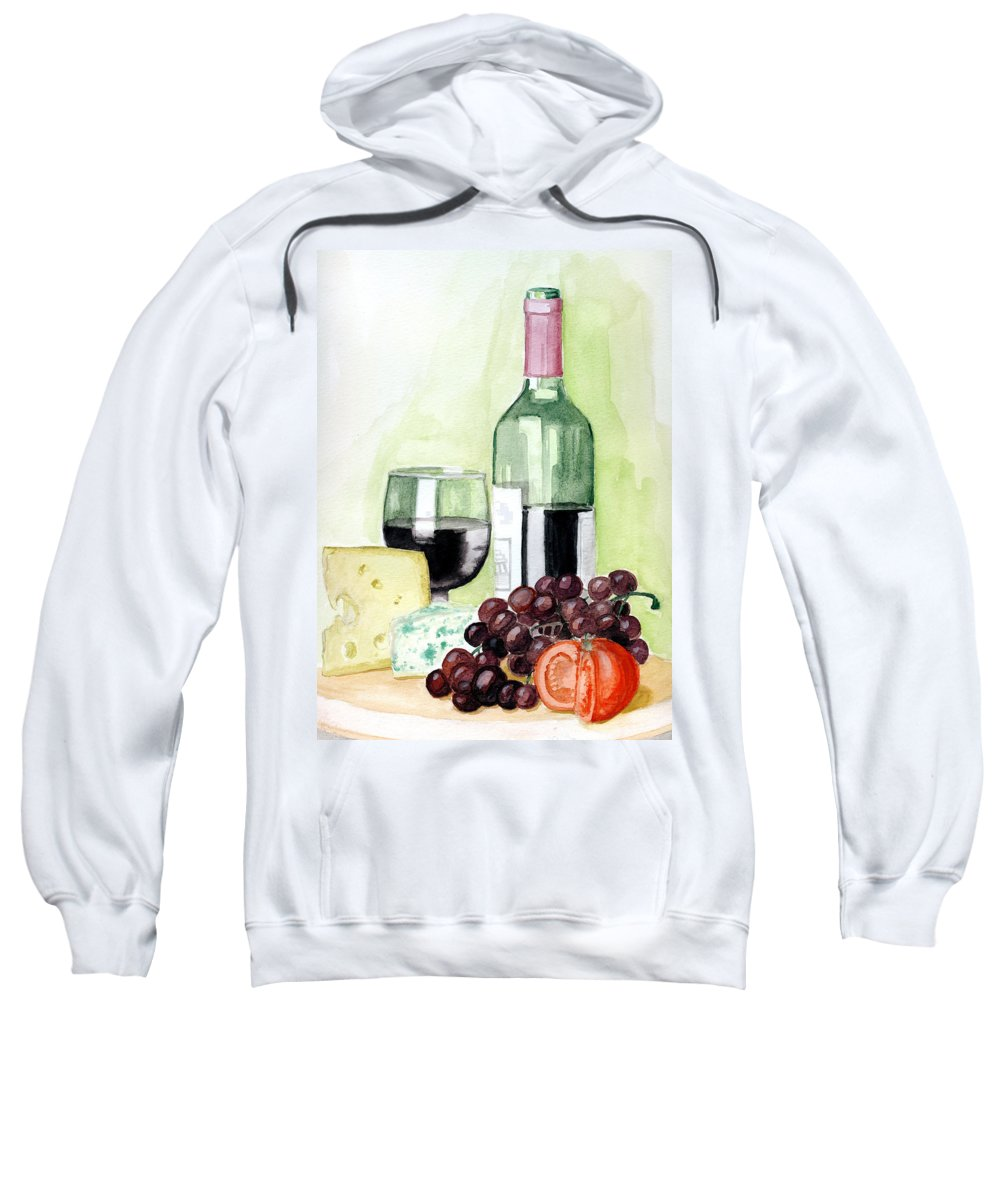 Wine Sweatshirt featuring the painting French Tradition by Alban Dizdari