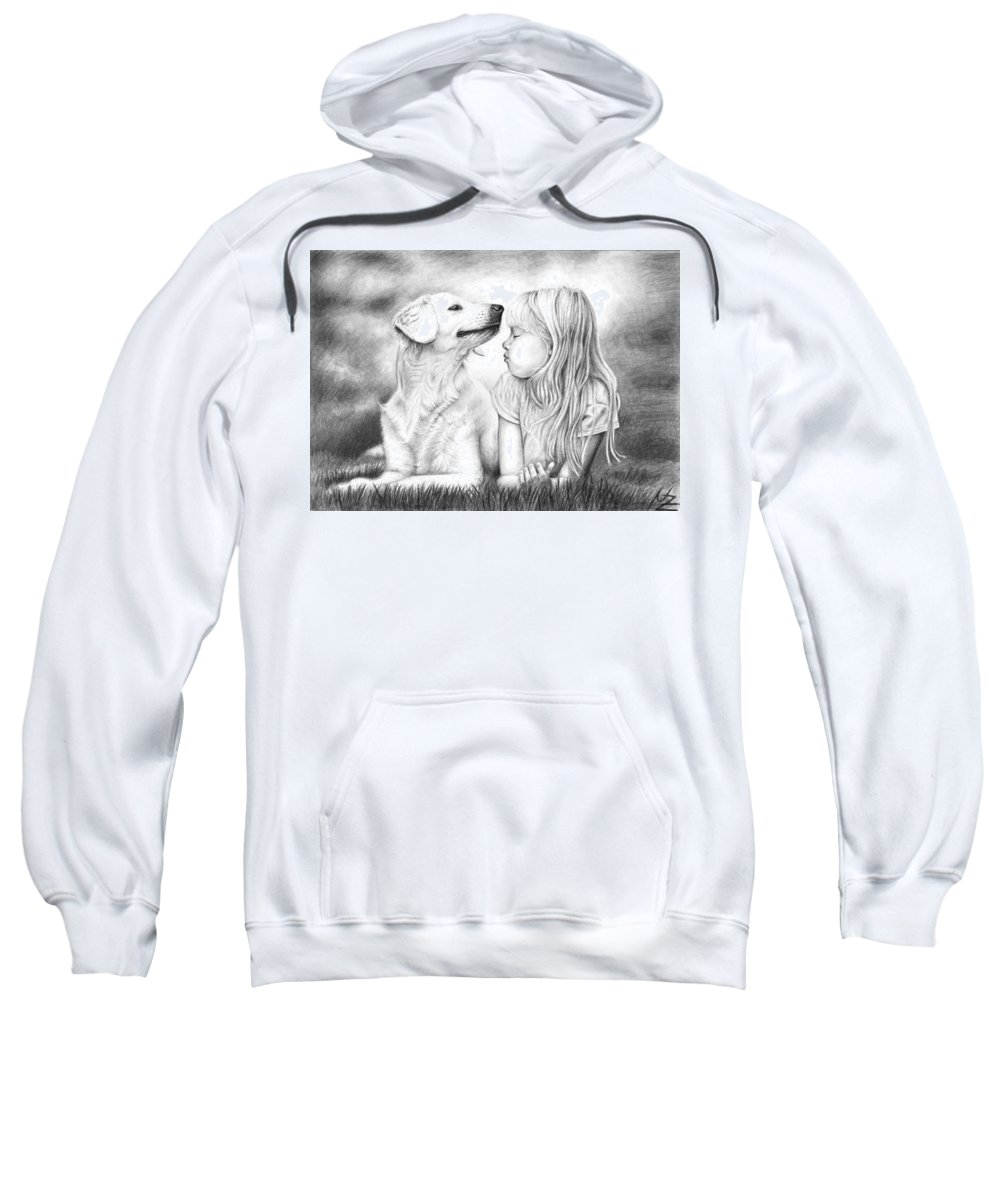 Dog Sweatshirt featuring the drawing Friends by Nicole Zeug