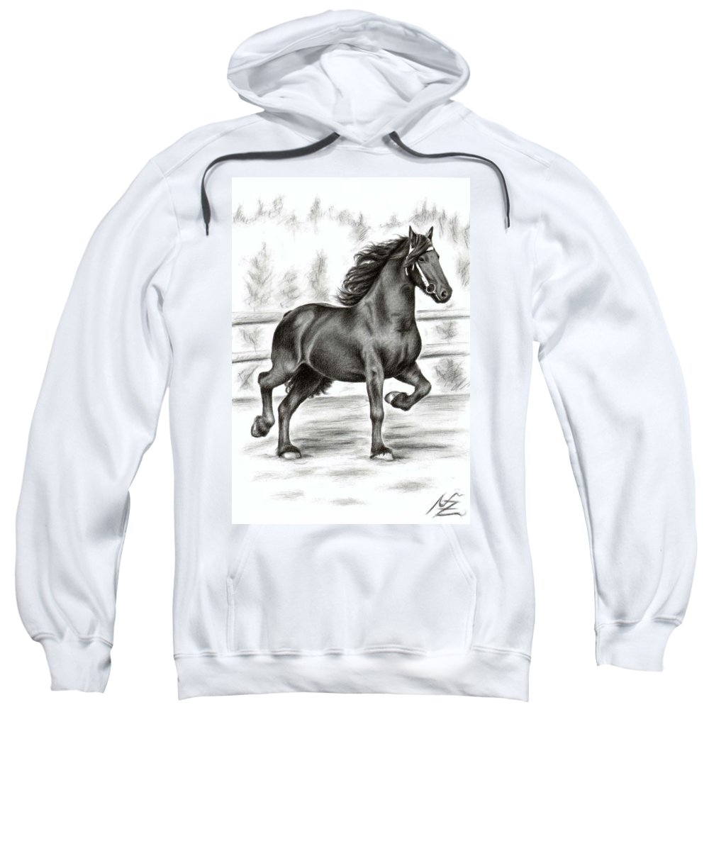Horse Sweatshirt featuring the drawing Friesian Horse by Nicole Zeug