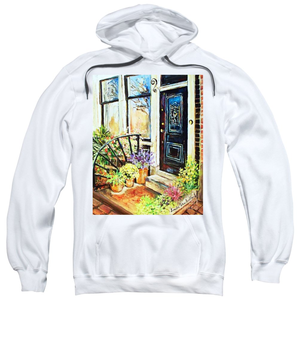 Frontporch Sweatshirt featuring the painting Front Porch by Linda Shackelford