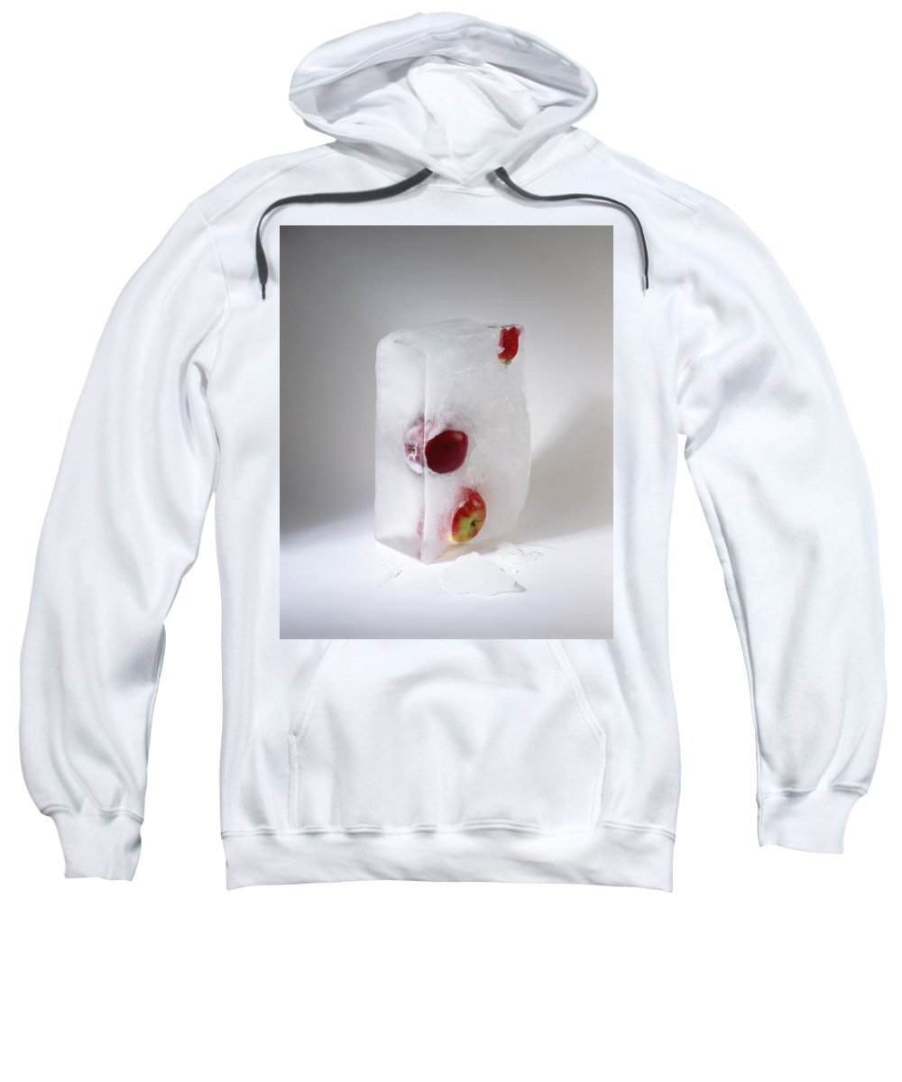 Composition Sweatshirt featuring the photograph Frozen Apples And Strawberry by Stefania Levi