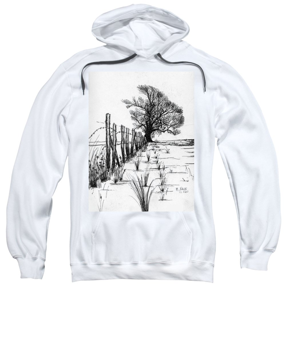 Ink On Paper Sweatshirt featuring the drawing Frozen Landscape Canada by Michael Krief