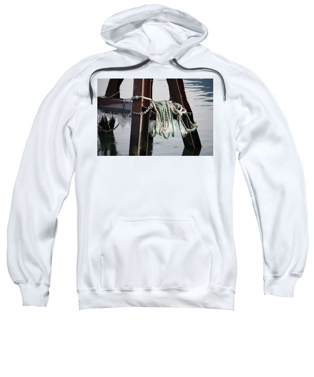 Winter Sweatshirt featuring the photograph Frozen Ropes by Jayne Borden