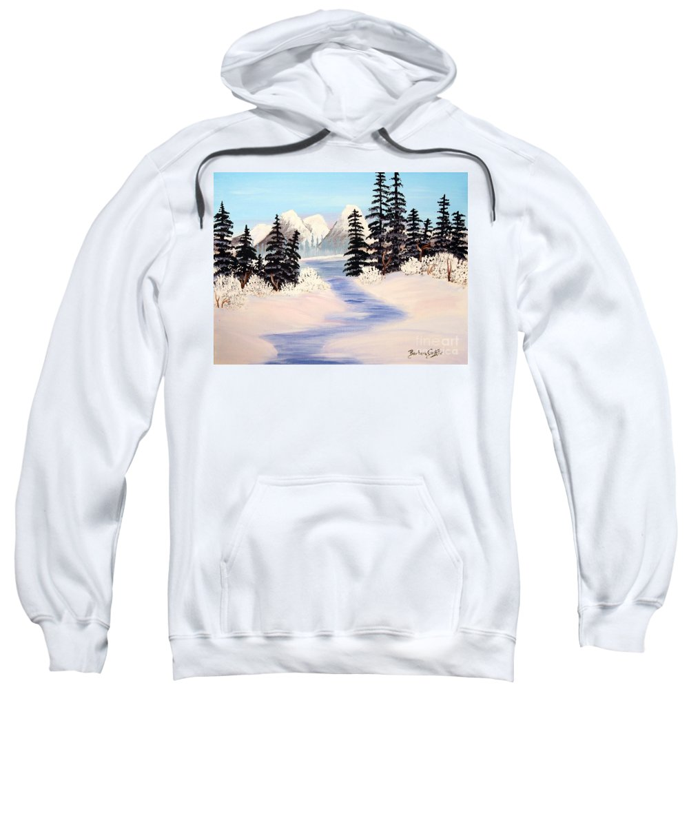 Frozen Tranquility Sweatshirt featuring the painting Frozen Tranquility by Barbara Griffin