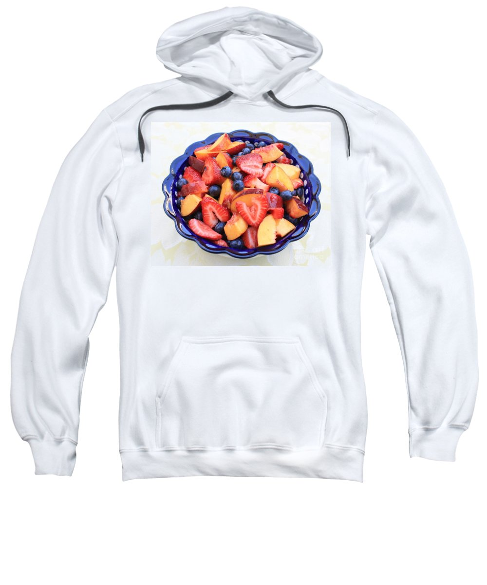 Food And Beverages Sweatshirt featuring the photograph Fruit Salad In Blue Bowl by Carol Groenen