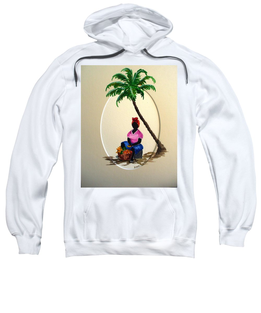 Sweatshirt featuring the painting Fruit seller by Karin Dawn Kelshall- Best